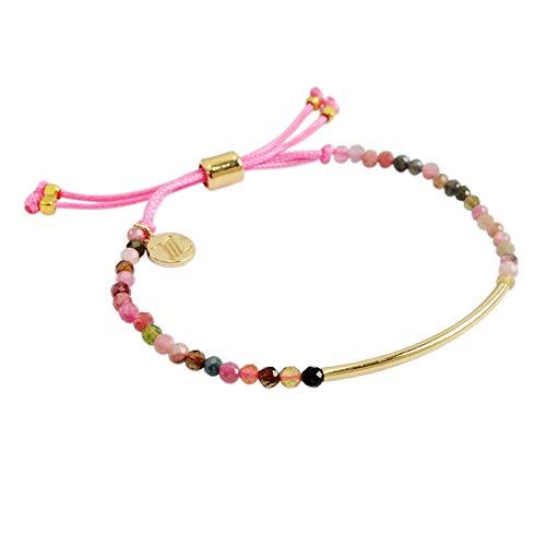 ZENGORI 1 Pcs 3mm Faceted Natural Tourmaline Bead Bracelet Adjustable Handmade Jewelry ZBG0065