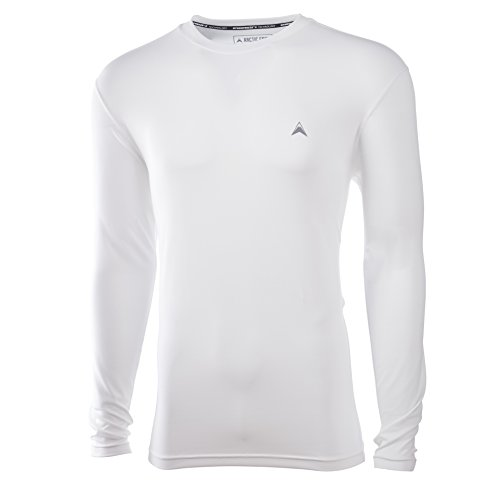 Arctic Cool Mens Solid Crew Neck Instant Cooling Long Sleeve Shirt with UPF 50+ Sun Protection, Arctic White, XXXXL