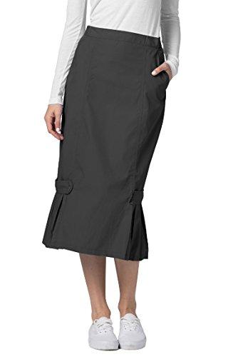 Adar Universal Tabbed Pleat Panel Skirt - 711 - Pewter - (Pleats Poplin Skirt)