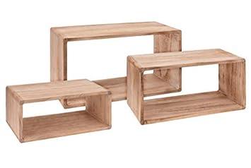Spetebo Wandregal Rechteck 3er Set Aus Holz 454035 Cm Hängeregal Würfel Regal Holz Natur