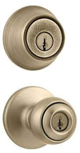 Kwikset 695P Polo Keyed Knobset Combo Pack Featuring Double Cylinder Deadbolt an, Antique Brass Brass Polo Double Cylinder