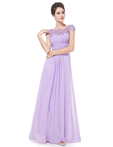 Ever-Pretty Womens Cap Sleeve Lace Neckline Ruched Bust Evening Gown 12 US Lavender