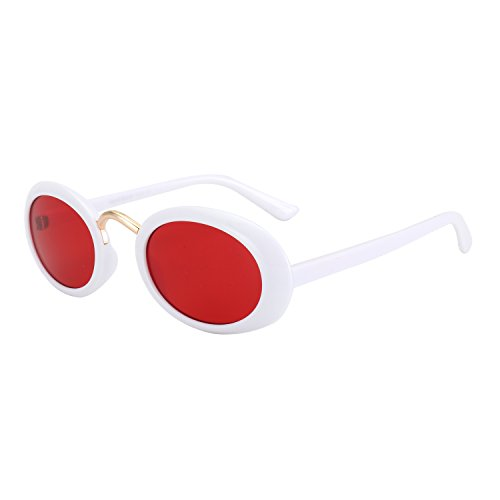 ROYAL GIRL Clout Sunglasses Oval Vintage Retro Mod Acetate Frame Goggles (White-Red, - White Sunglasses All