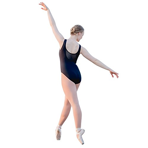 a9efb60f35 HDW Dance Women Ballet Dance Leotard Tank Sweetheart Mesh Front Bodysuit ( Black