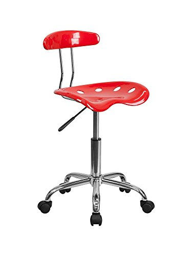 Vibrant Red and Chrome Computer Task Chair with Tractor Seat [LF-214-RED-GG] electronic consumers