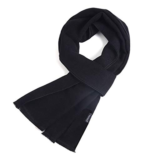 FULLRON Men Cashmere Scarf Long Warm Scarves, Black Scarf for Fall & Winter ()