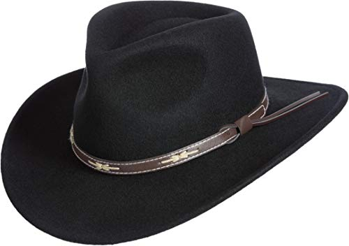 Hat Wool Sheepskin - Overland Sheepskin Co Teton Crushable Wool Cowboy Hat Black
