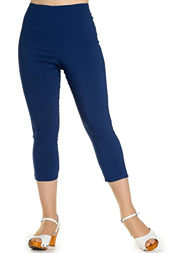 Hell Bunny Tina 50s Vintage Retro Style Capri Trousers 3/4 Length Pedal Pushers - Navy Blue (Vintage Retro Pants)
