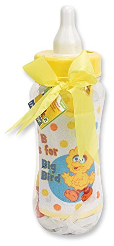 Sesame Beginnings Bottle Bank Gift Set - 8 Piece Baby kit Includes 9 oz Baby Bottle, bib, Bottle Brush, Snack Container with lid, Brush and Comb All in Large Bottle Bank - Big Bird Yellow