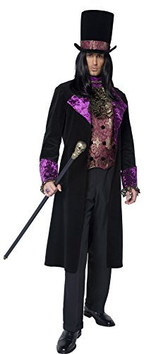 [Smiffy's Men's The Gothic Count Costume, Mock Waistcoat, Attached Cravat, Jacket and Hat, Gothic Manor, Halloween, Plus Size XL,] (Count Gothic Costumes)
