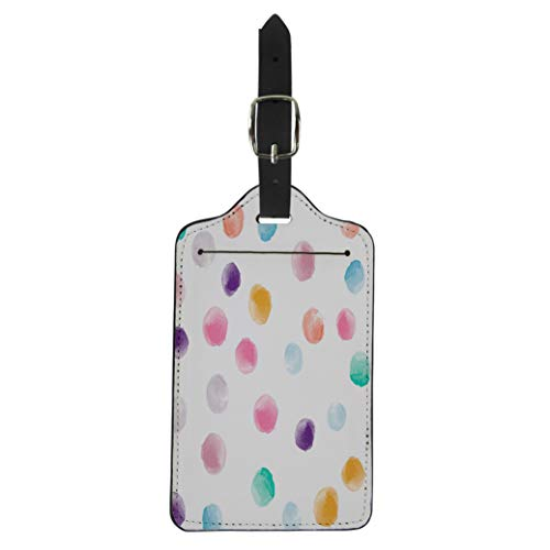 (Pinbeam Luggage Tag Pink Watercolor Circles Tiled Retro Round Shapes Pattern Suitcase Baggage Label)