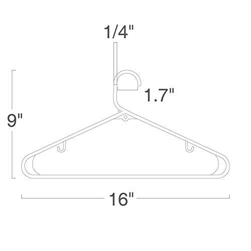 HOUSE DAY Black Plastic Tubular Adult Hangers 16.5 Inch Light-Weight Plastic