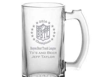 (Fantasy Football Champions Mug, Custom Laser Etched Glassware, Beer Glasses for Freezer, Iced Tea, Mojito)
