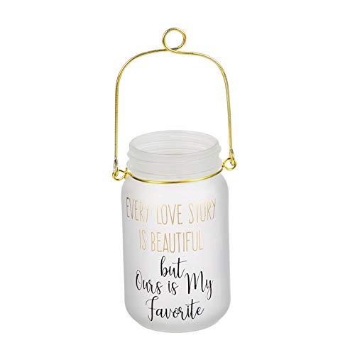 Glass Mason Jar w/String Lights, Every Love Story
