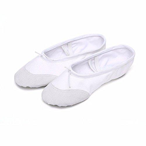 Labu Store Yoga Gym Flat Slippers White Pink White Black Canvas Ballet Dance Shoes For Girls Children Women Teacher by Labu Store (Image #5)