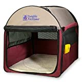 Petmate Portable Pet Home Medium, Khaki/Maroon