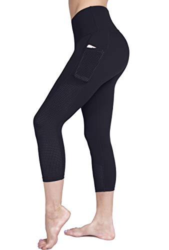 Raypose Womens High Waist Workout Capris Leggings w Pockets Running Capri High Waisted Tummy Control Yoga Pants Non See Through for Fitness Black-L
