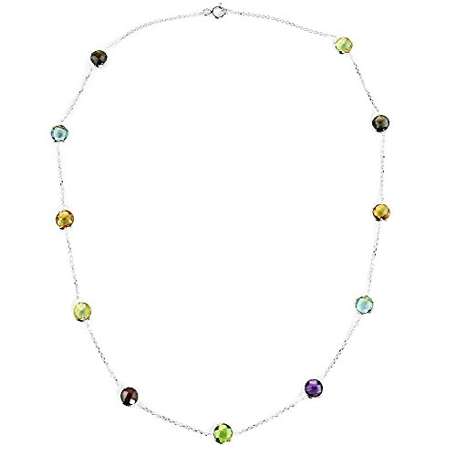 14K White Gold Handmade Station Necklace With 6 MM Gemstones by amazinite