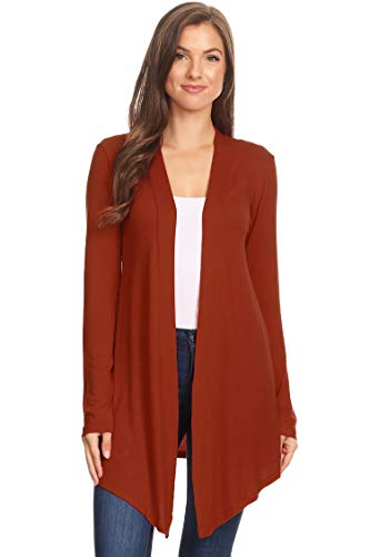 Solid Casual Basic Simple Long Sleeve Open Front cardigan Copper XL