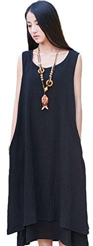 100% Linen Dress (Soojun Women's Essential Double-Layer Sleeveless Linen A-Line Dresses 2 Black Small)