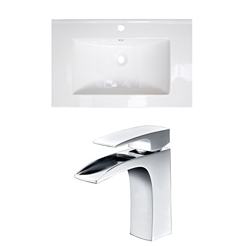 Jade Bath JB-15963 30' W x 18' D Ceramic Top Set with Single Hole CUPC Faucet, White