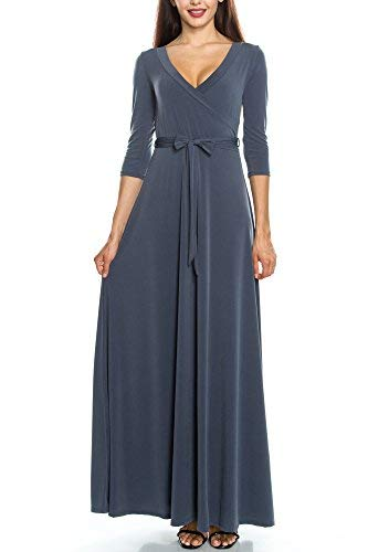- KLKD A122 Women's Solid Self-tie Surplice Maxi Faux Wrap Dress Charcoal Grey Small