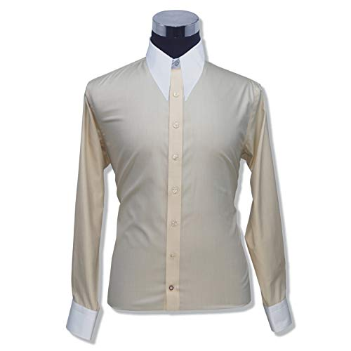 Mens Spear Point Collar Fawn Melange Bankers Shirt Vintage Classic 100% Cotton Relax fit Shirts 200-15 (15.5) (Spear Point Collar)