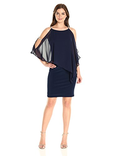 Xscape Women's Short Dress with Chiffon Overlay with Bead Trim, Lovely Navy, 12 by Xscape