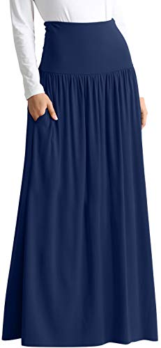 Navy Blue Skirts for Women Reg and Plus Size Maxi Skirt Navy Blue Maxi Skirt Casual Maxi Skirt Navy Blue Skirt (Size XX-Large US 14-16, Navy Floor ()