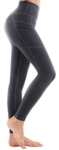 LifeSky High Waist Yoga Pants with Pockets Tummy Control 4 Way Stretch Workout Pants Womens' Active Leggings (9852 Grey, XXL)