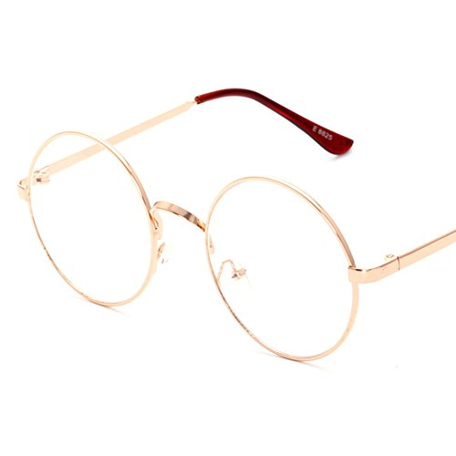 Lovef Large Oversized Metal Frame Clear Lens Round Circle Vintage Eye Glasses 5.42inch (Rose - Glasses Gold Vintage