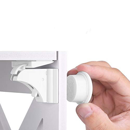 Cerraduras Magnéticos de Seguridad HURRISE para Bebés y Niños. Sistema de Cierre para Armarios y Cajones sin Necesidad de Taladrar y Tornillos (16 cerraduras y 3 llaves)