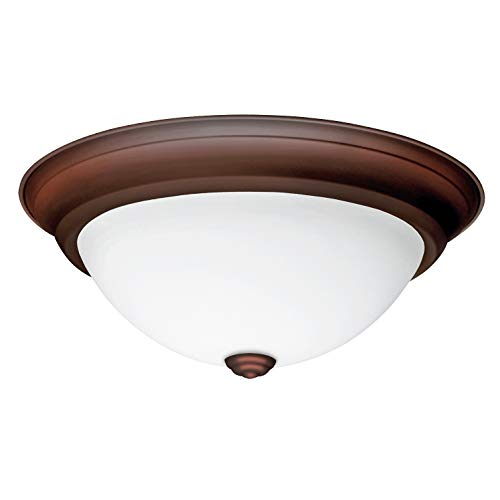IN HOME 12,9 Inch LED Dimmable Flush Mount Ceiling Light Fixture Round Dome Opal Glass Shade 18 Watt (90W Repl) 4000K Bright White 1000 Lm, Brown Finish, UL & Energy Star Listed