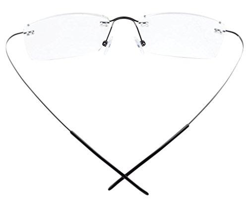 Eyekepper lectura 0 Gafas marco sin para plata Ancho de Lente Mm borde hombres 55 tiranio de Negro 2 ErrS7q
