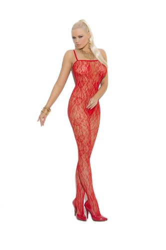 Rose Lace Bodystocking - ROSE LACE BODYSTOCKING - O/S - RED