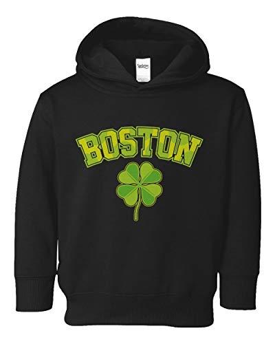 Societee Boston Shamrock Irish Pride Little Kids Girls Boys Toddler Hooded Sweatshirt (Black, 4T)