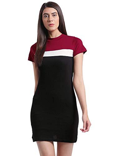 RIGO Blue Cotton Knited Striped Half Sleeves Above Knee Length Dress for Women
