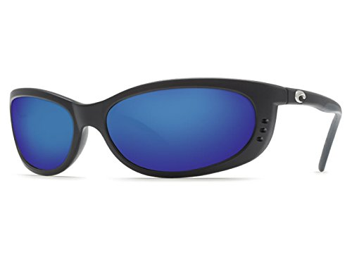 COSTA DEL MAR Men's Fathom Polarized Oval Sunglasses, Black Blue Mirror, 60.5 mm