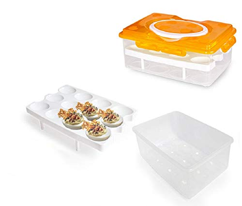 2 Tiers Egg Container Deviled Egg Carrier Eggs Holder with Handle Fridge Freezer Storage by DELIFUR (Orange)