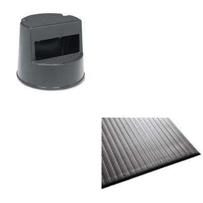 KITMLL24020302RCP252300BK - Value Kit - Rubbermaid Rolling Step Stool (RCP252300BK) and Guardian Air Step Antifatigue Mat (MLL24020302) by Rubbermaid