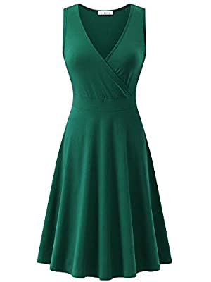 GUBERRY Womens Deep V Neck Sleeveless Cross Wrap Casual Flare Midi Tank Dress with Pockets