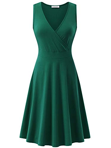 GUBERRY Womens V-Neck Dress Cross Wrap Deep Green Cotton Midi Tank Summer -