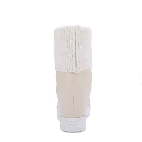 AgooLar Damen Rein Hoher Absatz Rund Zehe Weiches Material Ziehen auf Stiefel Aprikosen Farbe