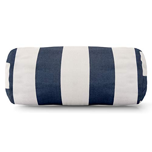 Majestic Home Goods Navy Blue Vertical Stripe Indoor / Outdoor Round Bolster Pillow 18.5