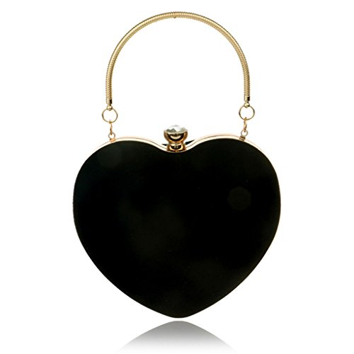 Dabixx Women Heart Clutch Bag Borsa da sera in velluto Borsa a catena catena Prom Wedding Party Light Pink Nero