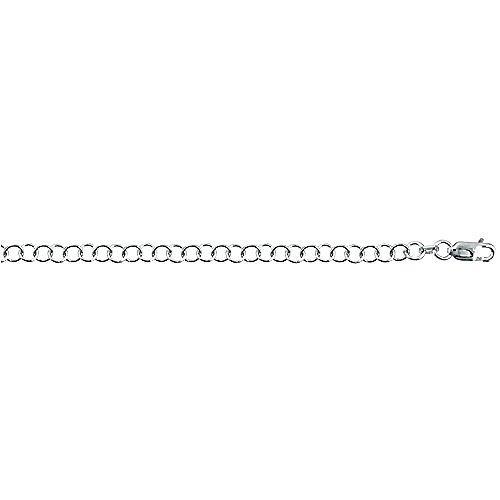 - Sterling Silver Circle Link Cable Chain Necklace 4mm Nickel Free Italy, 16 inch