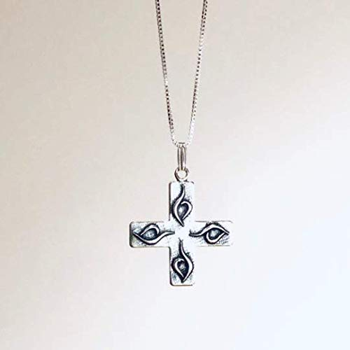 """Cardinal Directions. Eating Disorder Recovery Necklace with 1"""" cross pendant."""
