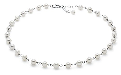 (6.5-7mm Sterling Silver White Freshwater Cultured Pearl Tin Cup Necklace AA+ Quality, 17