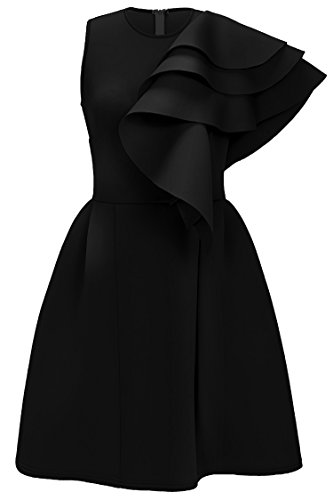 Uhnice Women's Ruffle One Shoulder Bodycon Party Club Cocktail Evening Dress (Small, Black)
