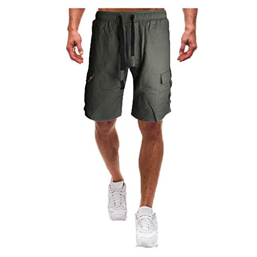 Shorts for Men, F_Gotal Men's Casual Camouflage Drawstring Elastic Waist Multi-Pockets Sports Pants Shorts Sweatpants